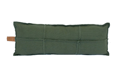 FRAYED EDGE LONG CUSHION OLIVE // $79