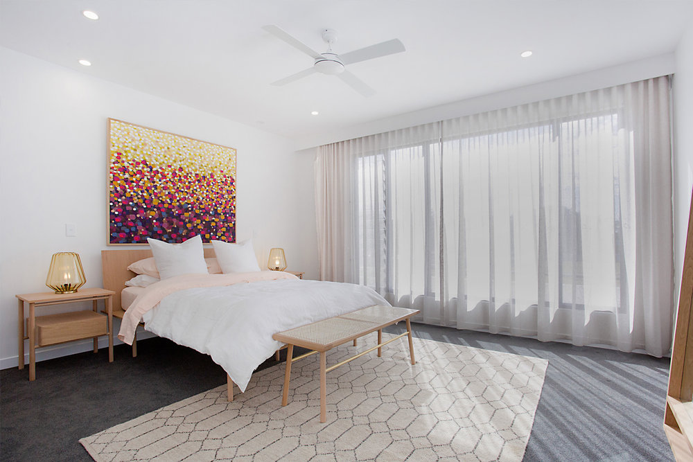 PROPERTY STAGING FOR MERMAID BEACH HOME - FEATURING THE STAHL BED, STAHL BEDSIDE AND PAS MAL RATTAN BENCH SEAT