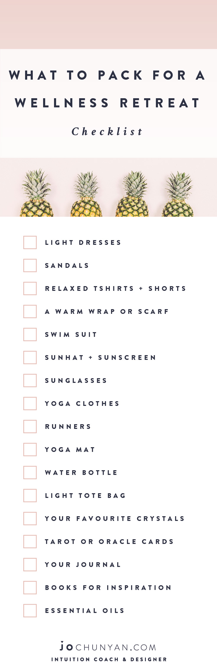 Pinterest - What To Pack For A Wellness Retreat Checklist