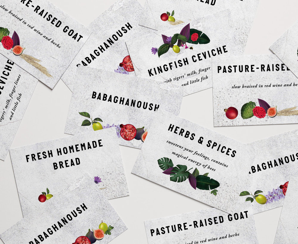 ingredient cards for Rachel's pop up dinner