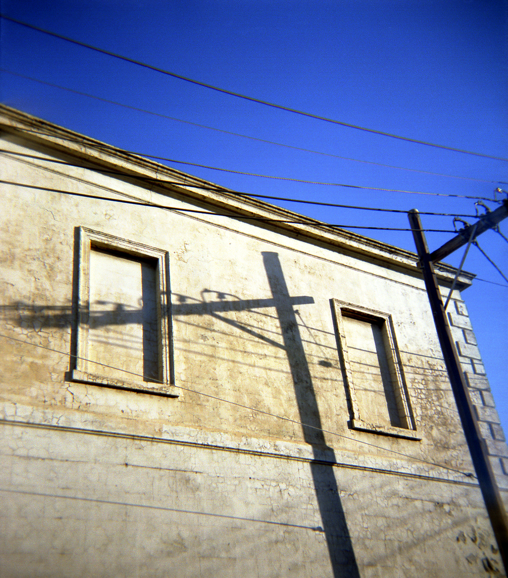 building, shadows, blue sky [fitzroy, victoria, australia, 2004]