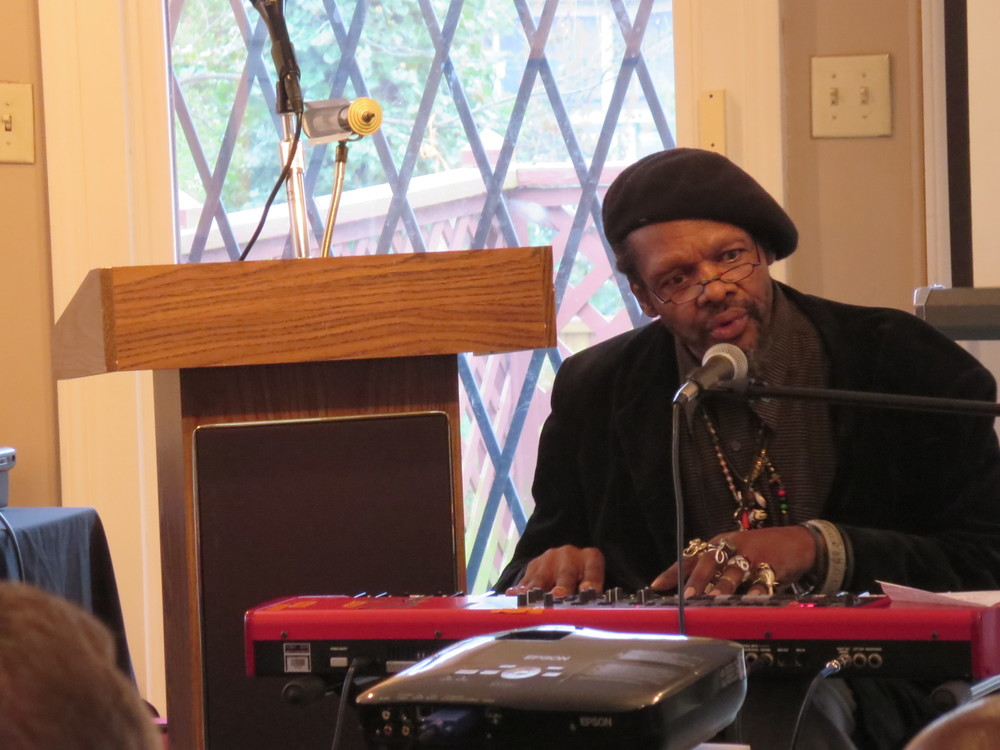 Lonnie Holley performing at the IndieGoGo launch event for the documentary on his work.