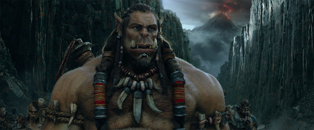 "The orc Durotan from the film ""Warcraft,"" based on the video game ""World of Warcraft."""