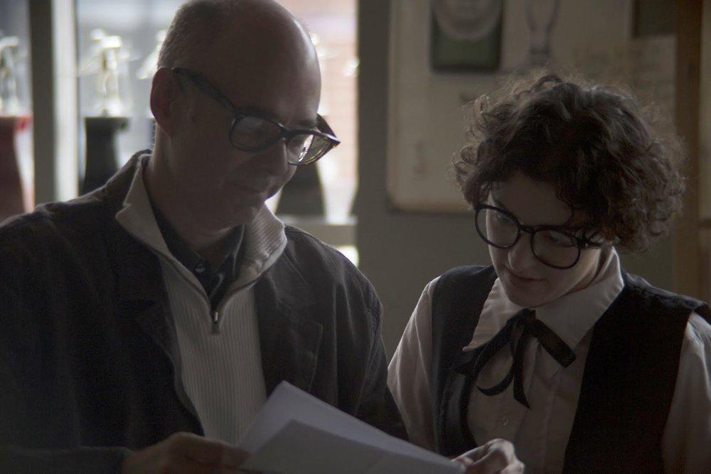 Bret Wood with Rachel Frawley on set