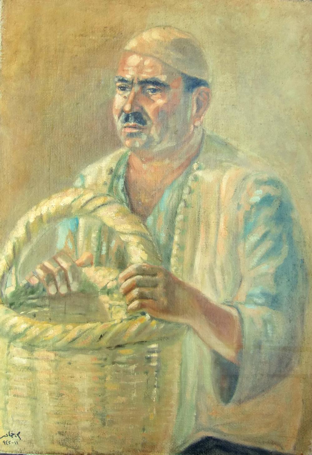 Man With Basket . 11 - 1942 . رجل مع سلة