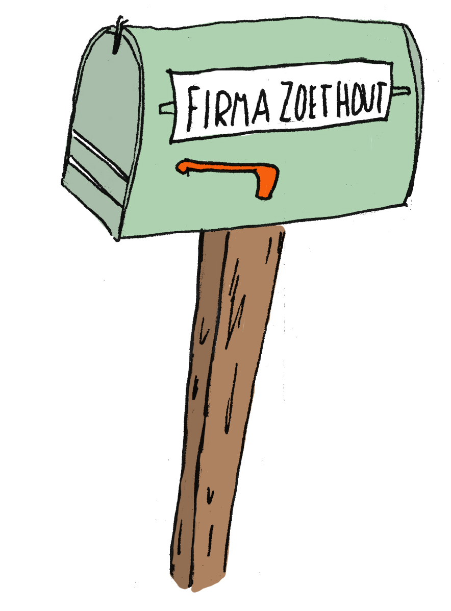 Brievenbus - Firma Zoethout. Illustratie: Suzanna Knight