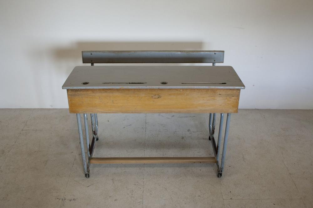 Vintage tweepersoons schoolbank 3.JPG