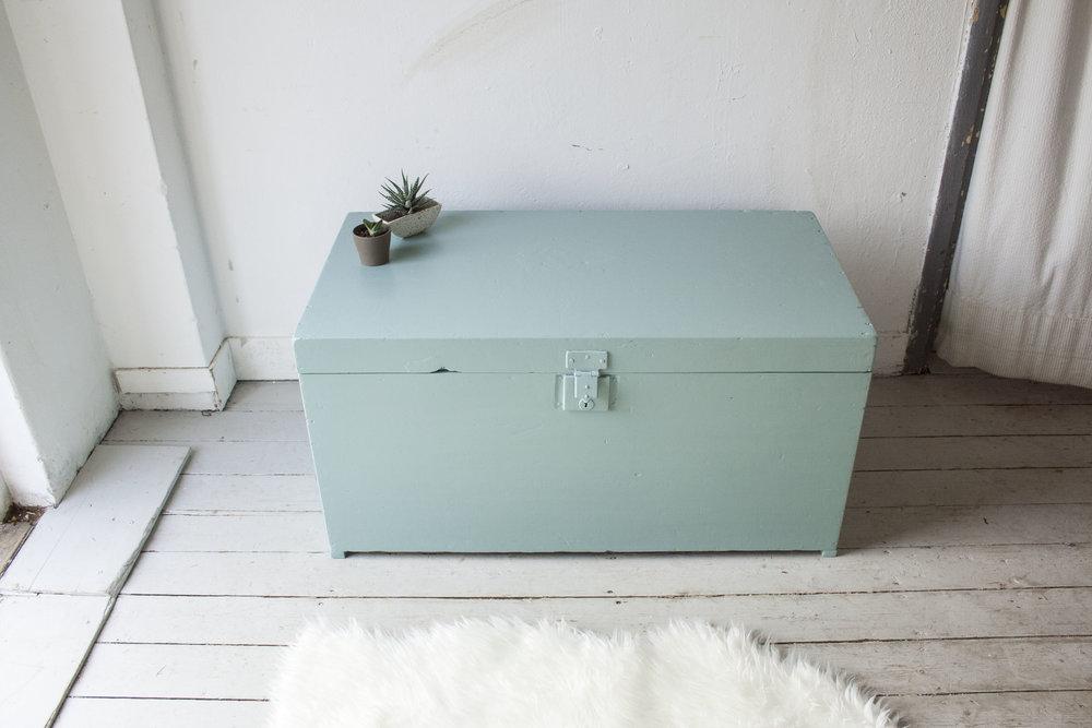 Vintage blauwgroene kist - Firma Zoethout_1.jpg