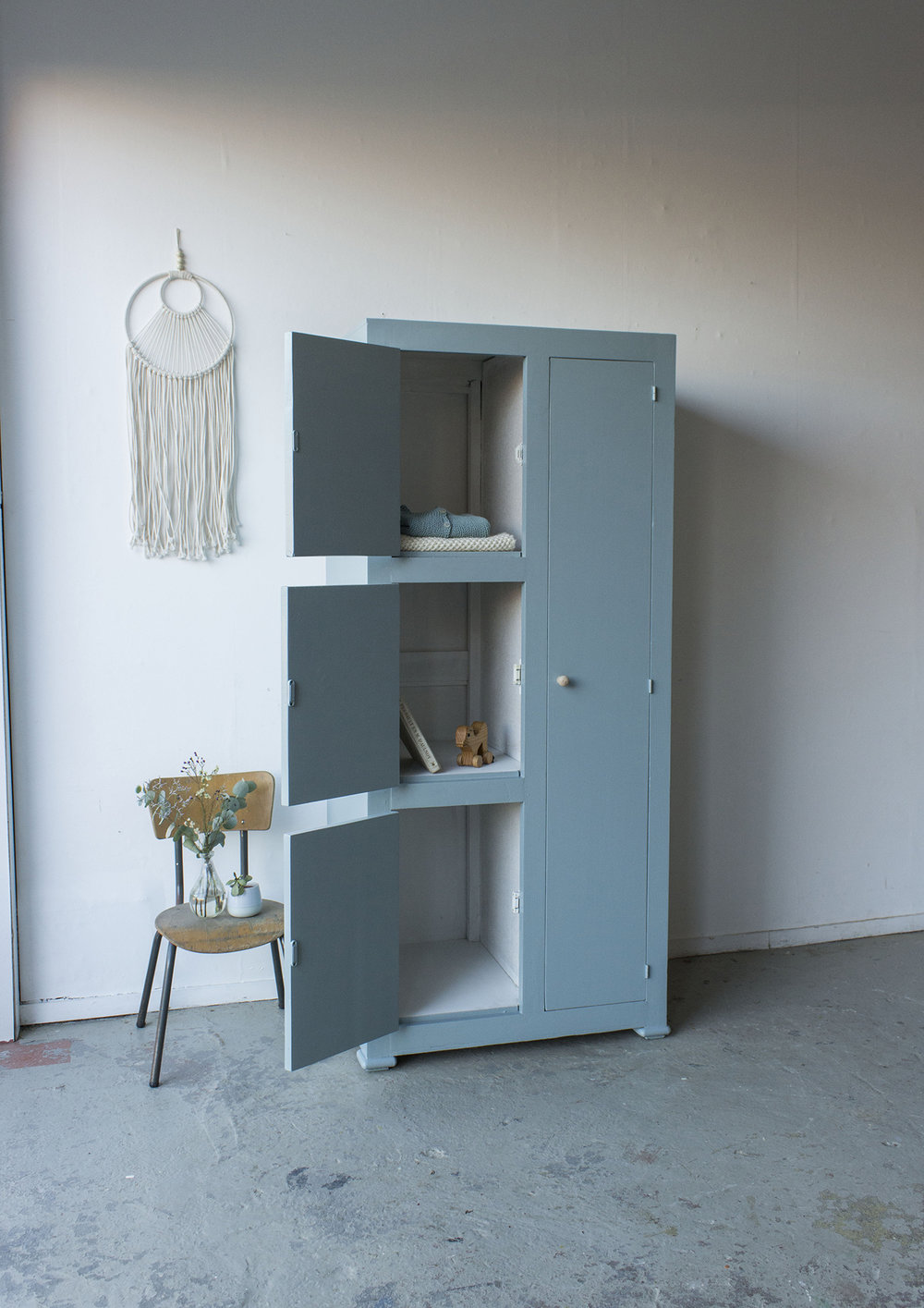 Kust blauwe vintage kledingkast -  Firma zoethout_3.jpg
