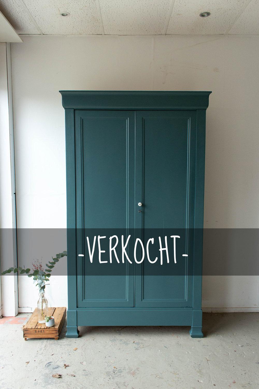 1476 - Donker zeegroene vintage kledingkast-6VERKOCHT.jpg