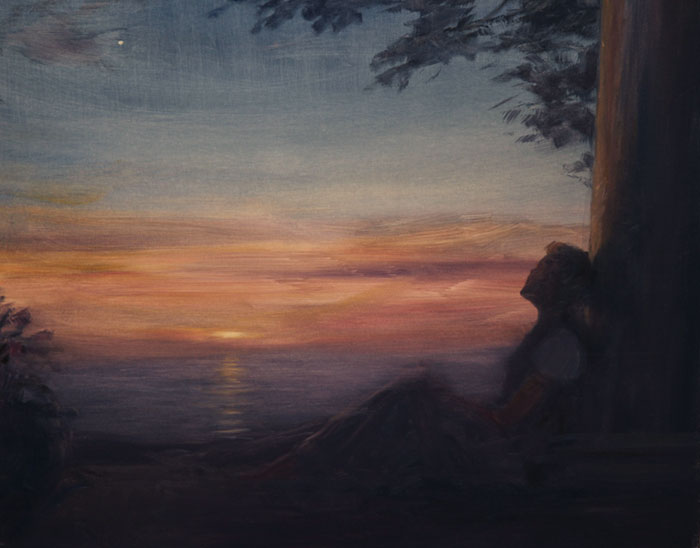 Woman Leaning Against Column At Sunset.jpg