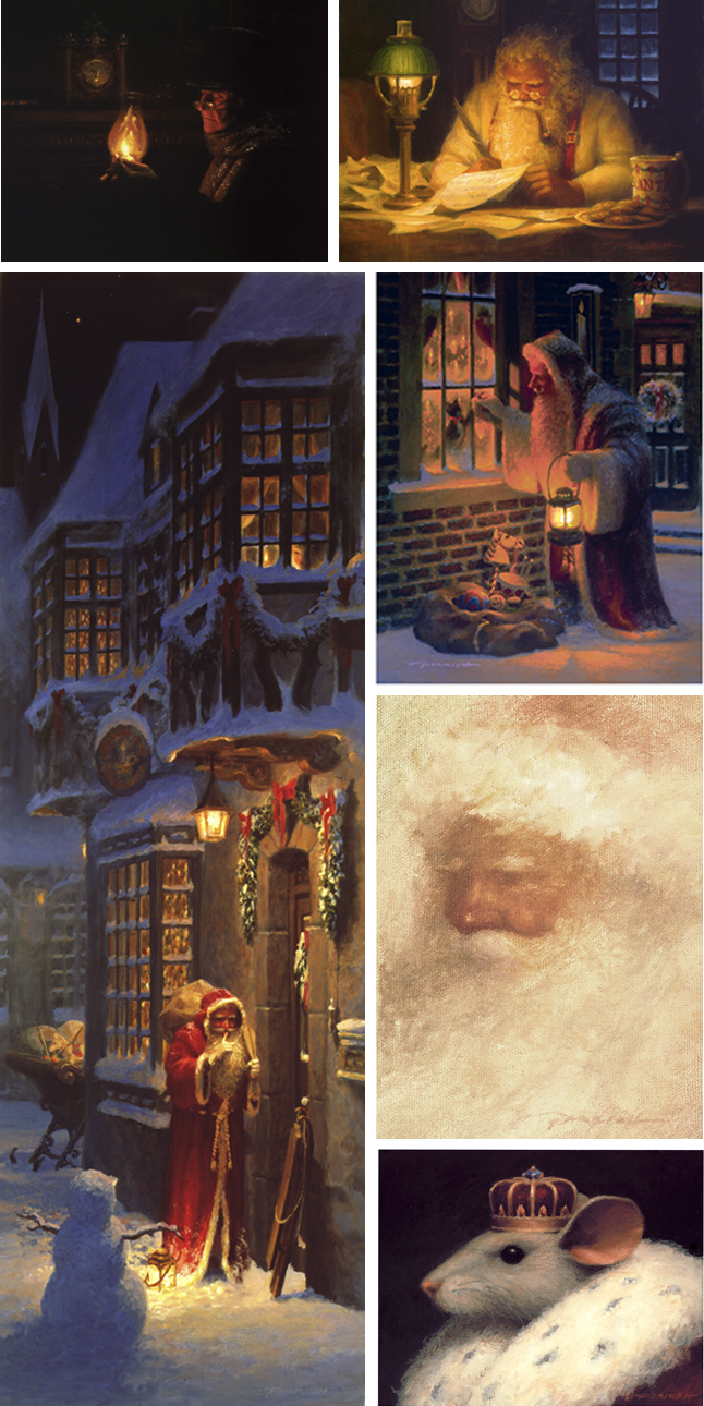 """The Christmas Collection By Artist Bradley J. Parrish This year's Parrish Fine Art Christmas Collection consisting of Six of Brad's most treasured holiday paintings are now available for purchase. Included in this collection is the much anticipated and long awaited signed & numbered Giclee of one of Brad's most popular holiday paintings titled 'Shh!"""" which Brad is dedicating to thememory of his dear aunt Barbara whopassed away on November 2, of this year.For additional information and to order any of these very special and timeless holiday fine art classics by artist Bradley J. Parrish, Click here."""