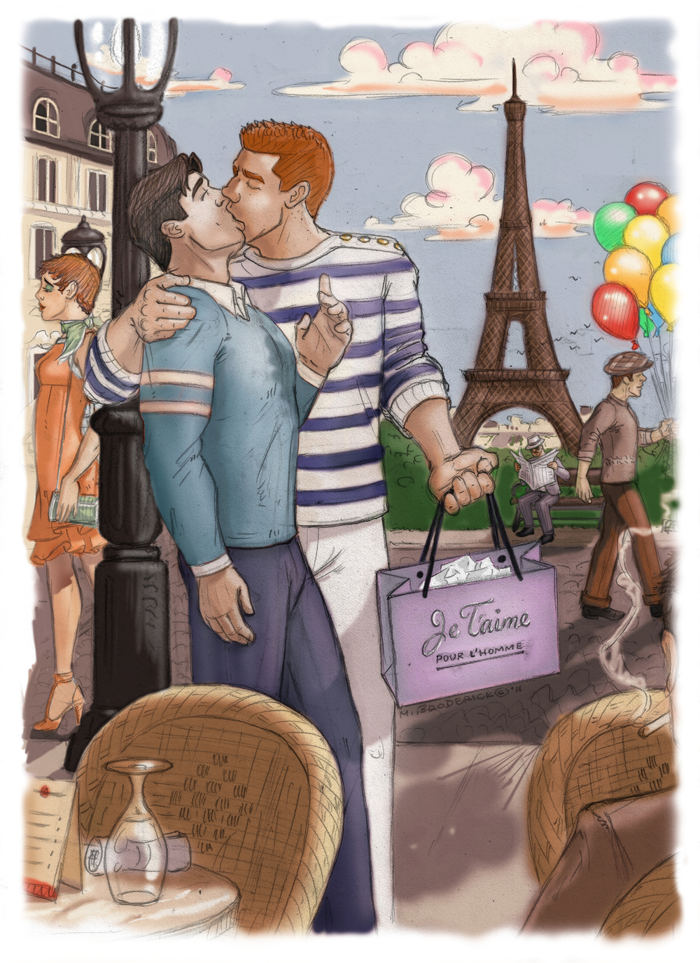 The back cover illustration for Glen & Tyler's Paris Double-cross, which only appears on the hardcover edition.