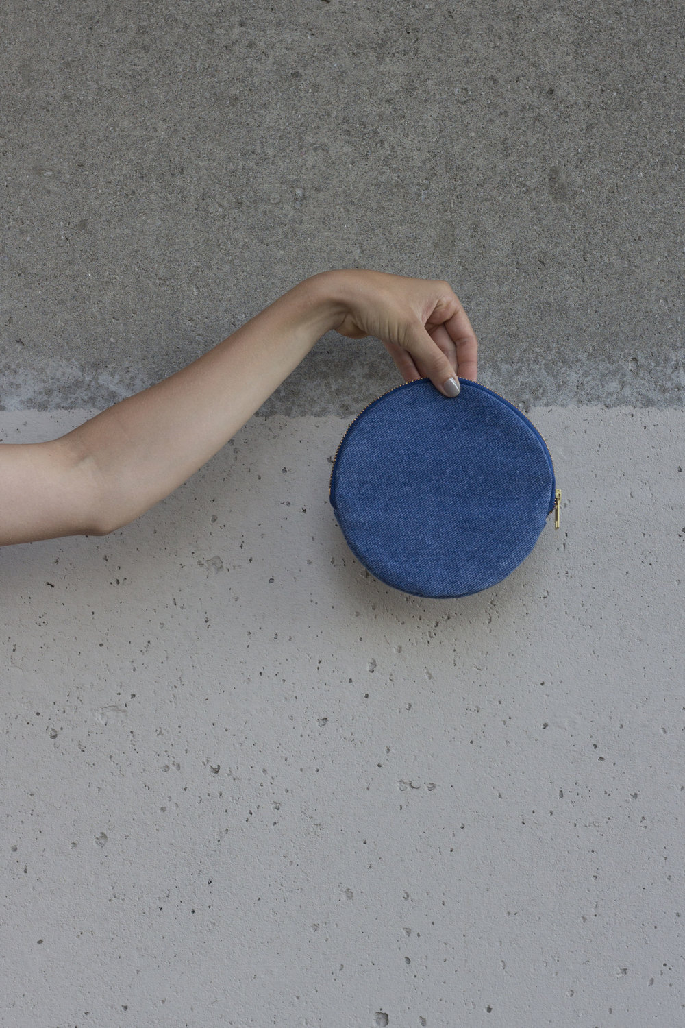 Up-Cycled Denim Round Pouch - $ 22.00  + tax