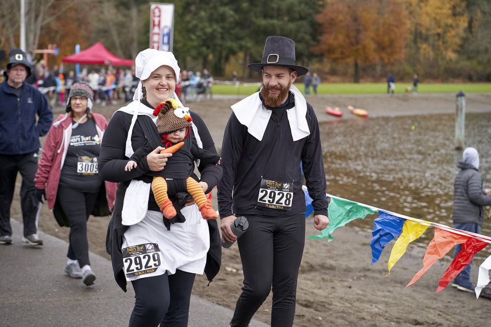 Some people show up to the Turkey Trot Ready to set a personal record for the fastest 10k run, while others are simply ready to dress up, have fun, and enjoy a leisurely stroll on the holiday.