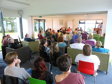 Acclaimed poet Michael Longley reading at the Corrymeela centre, July 2012.