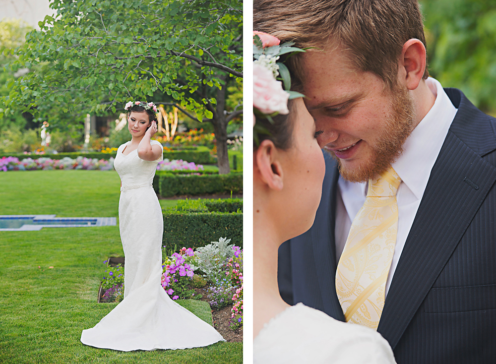 Our bride, Abbie and groom, Parker could not haven been any sweeter and easier to work with. Abbie had many wonderful ideas and inspirations for the wedding flowers & decor. The reception was held at Cactus & Tropicals in Draper, Utah. The venue is stunning, already full of lush plants and sweet smelling blooming flowers. Abbie had a charming idea of carrying out an ancient Japanese wedding tradition of hanging 1,000 cranes. Each crane symbolizes 1 year of happiness and prosperity. The 1,000 cranes hanging from the vast ceiling of Cactus & Tropicals was truly whimsical, not to mention romantic! Abbie & Parker's wedding color palate included shades of blush, pink, peach, ivory, champagne, gold, and navy. We included one of our favorite David Austin Garden Roses, the Juliet. The perfect shade of peach! A gigantic thank you to Abbie, her sweet family, and Parker for selecting Lilac Floral as their wedding day florist. All  lovely photos courtesy of Sugar Rush Photography, Cake made by Tiered Expressions