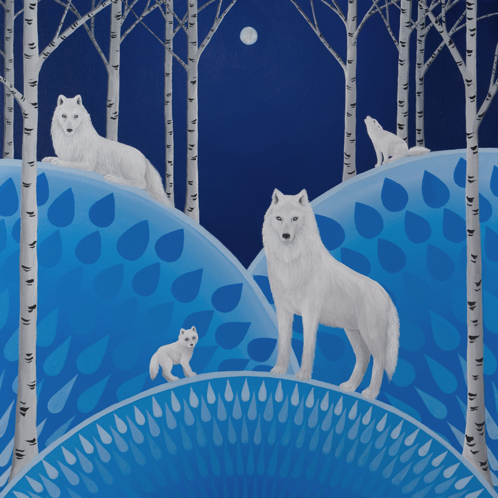 Wolves with Birch Trees