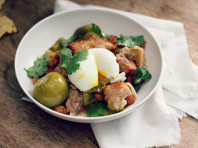 Jan 31 pork, tomatillo and pinto bean stew + six minute egg