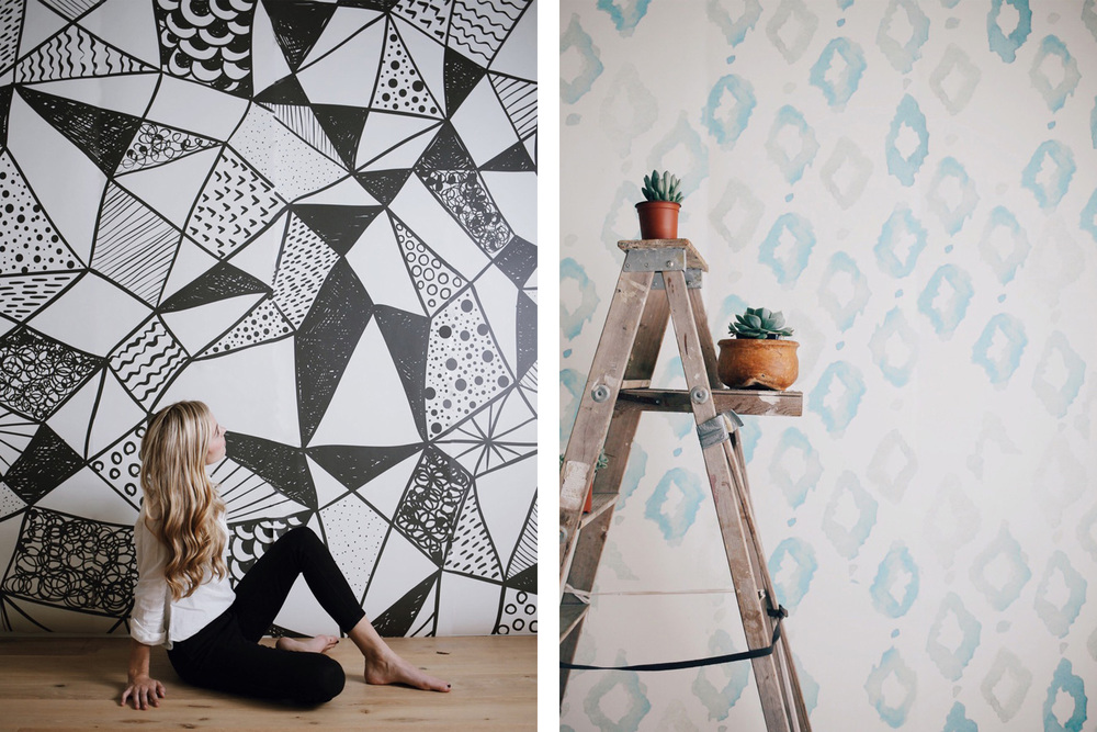 Left: Geometric Shapes, anewall.com, $389; Right: Triangles, anewall.com, $389
