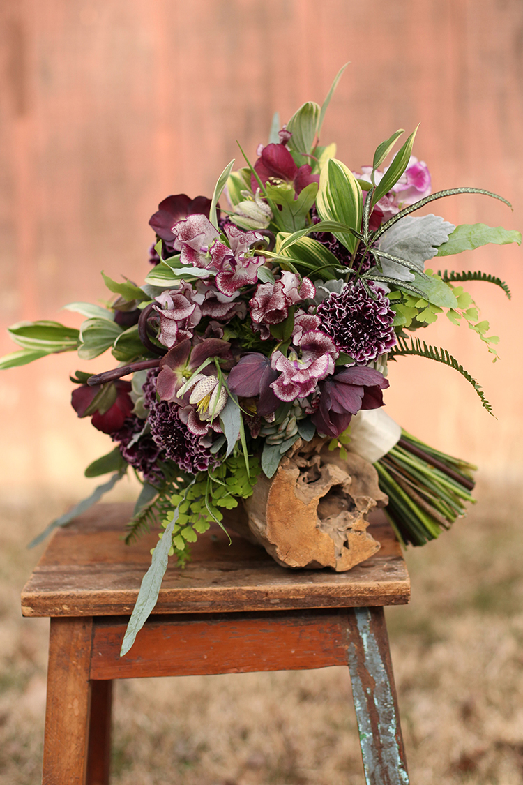 Woodland bridal bouquet with fern curls, purple scabiosa, sweet pea, fritillaria, succulents, dusty miller, variegated Solomon's seal and maidenhair fern. By Cincinnati wedding florist Floral Verde.