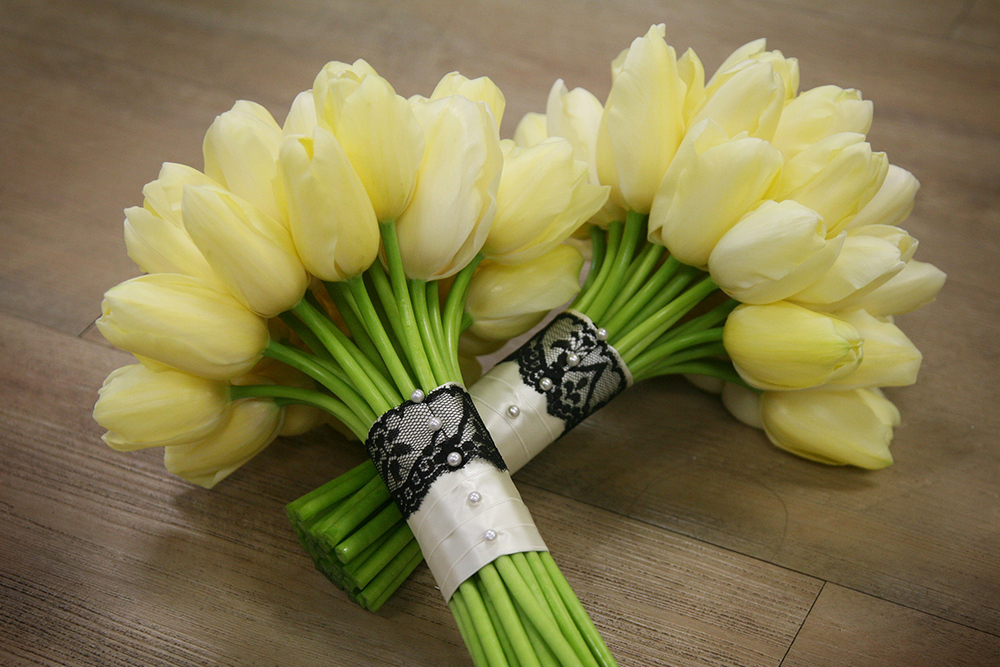 Bridesmaids bouquets with ivory Maureen French tulips. Flowers by Cincinnati wedding florist Floral Verde LLC.