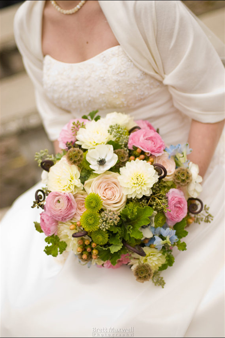Bouquet with privet, delphinium, black and white anemones, dahlias, scabiosa pods, Kermit mums, scented geranium, Green Fashion roses, blush ranunculus and hypericum. By Floral Verde in Cincinnati.