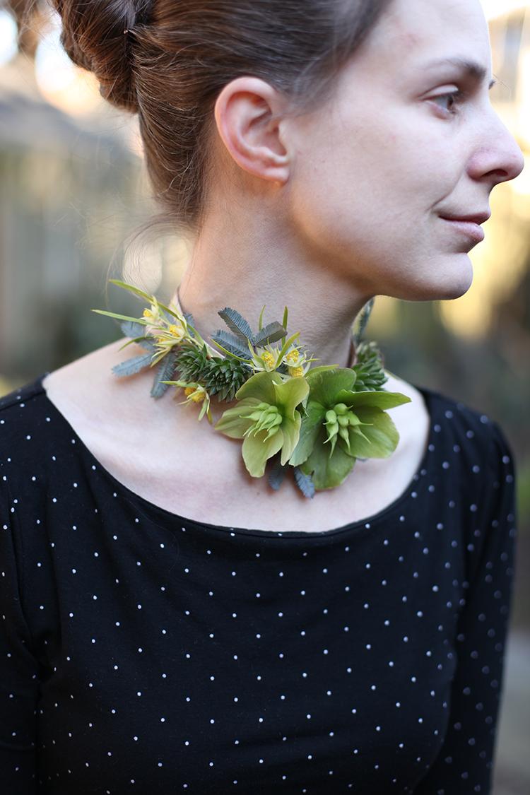 Floral necklace with green hellebores, succulents, mini leucadenron, acacia and birch bark. By Cincinnati wedding florist Floral Verde.