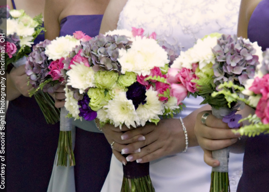 hand-tied bouquets with Florigene Moonvista carnations, antique blue-pink hydrangea, Twinkle Bride spray roses, Super Green roses, Polaris cushion pomps and sword fern