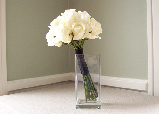 bridesmaid bouquet with white Blizzard roses