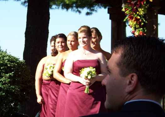 the bridesmaids look on as Allison makes her grand entrance