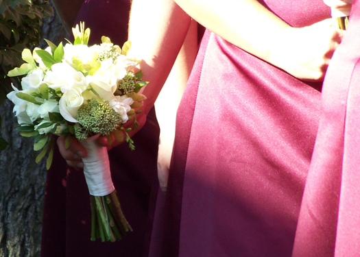 bridesmaid bouquet with Akito roses, Viviane spray roses, white freesia, boxelder, myrtle and green sedum