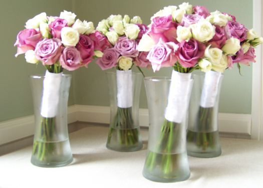 bridesmaid bouquet with Avant Garde roses, Cool Water roses and Viviane Spray roses