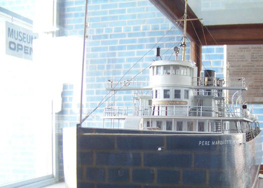 a model ship at the Dossin Great Lakes Museum