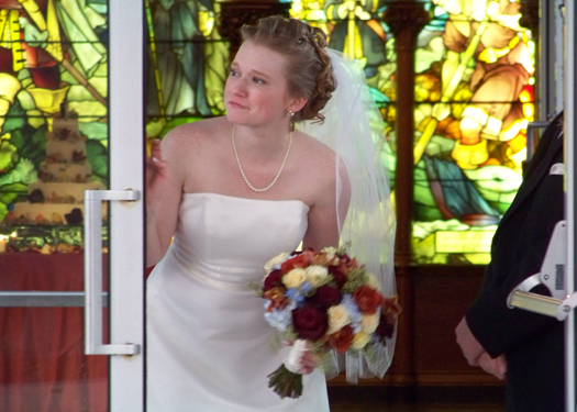 Lauren waiting for her queue to walk down the aisle