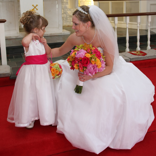 Ali takes a moment with her flower girl