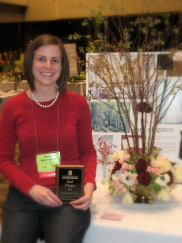 Janet from Floral Verde LLC with a second place finish in the centerpiece category of the 2009 Michigan Floral Association design contest.