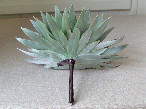 Underside of composite bouquet made from silver tree foliage