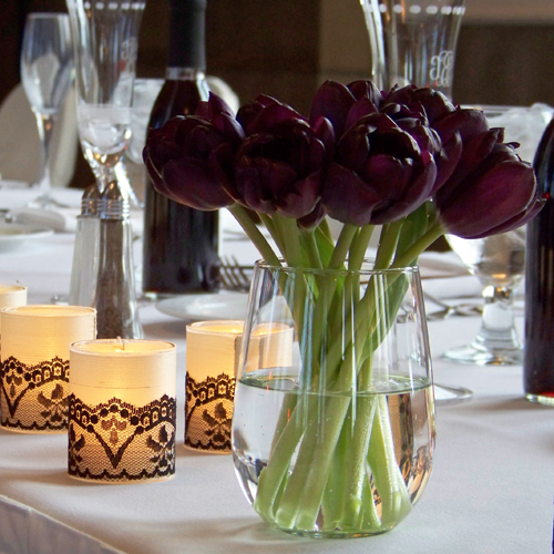 Black Jack tulips with silk and lace wrapped votives