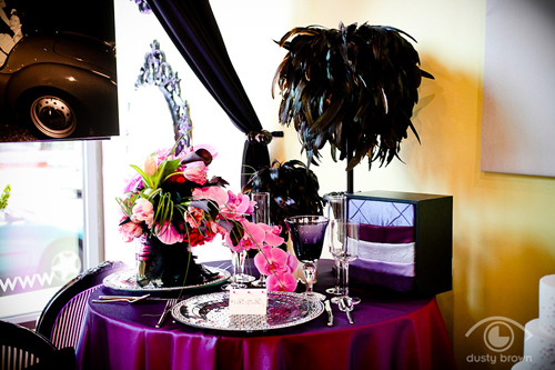 Pink and plum tablescape by Modern Day Floral.