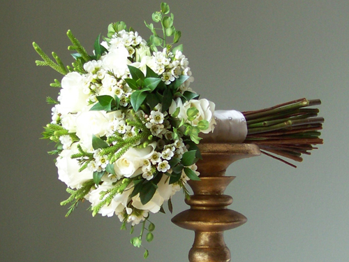 bridesmaid bouquet with Escimo Roses, Viviane spray roses, waxflower, lunaria, lycopodium and myrtle