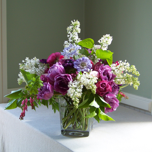 Square vase with blue scabiosa, purple anemone, purple double tulips, Maritim roses, hot pink ranunculus, bleeding hearts, pink peonies and white lilacs