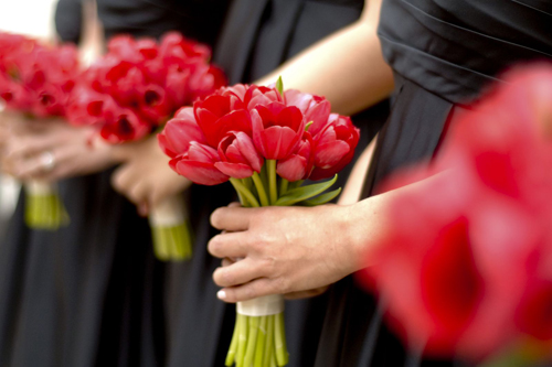 red tulip bridesmaids bouquets by Floral Verde LLC, photo by Mattson Pictures