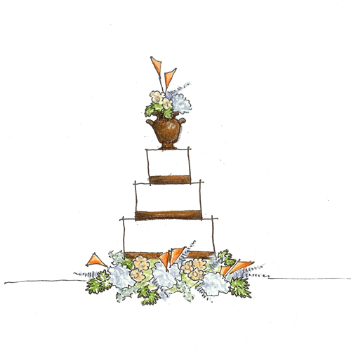 blue, green, orange and copper wedding cake sketch