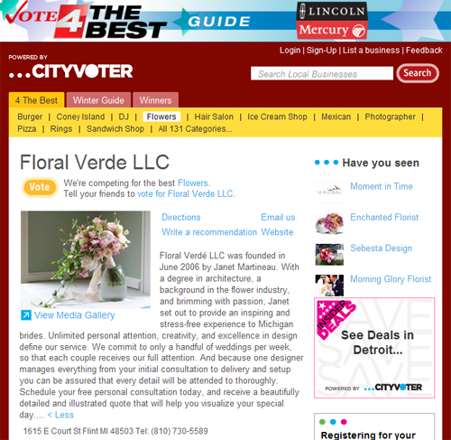 "WDIV Channel 4 ""Vote 4 the Best Guide"" screenshot of Floral Verde LLC"