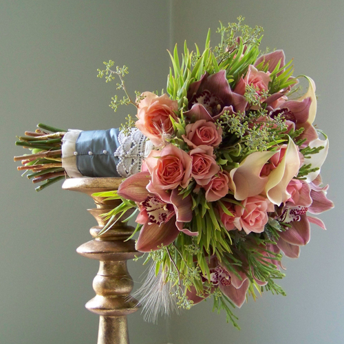 bouquet with juniper stem wrap