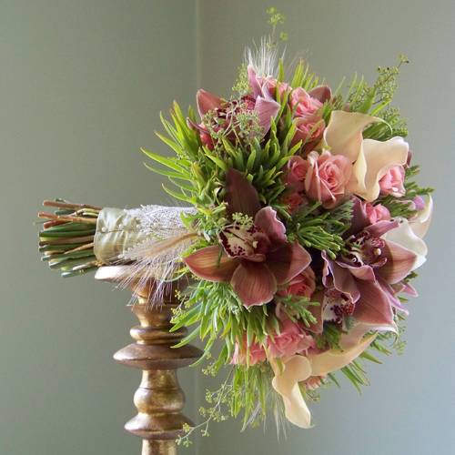bouquet with lemongrass stem wrap