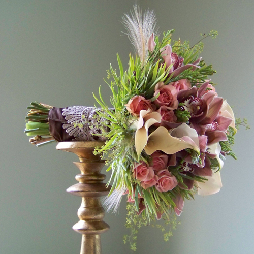 bouquet with espresso stem wrap