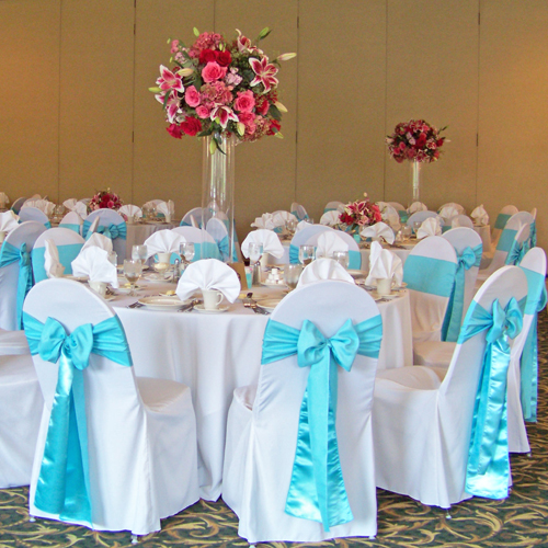 Tiffany blue and pink reception