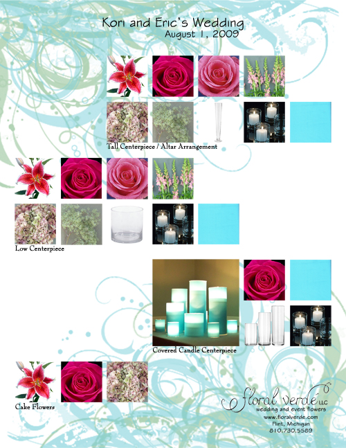 Tiffany blue and pink reception flowers inspiration board